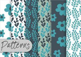 Conjunto de padrões florais azuis