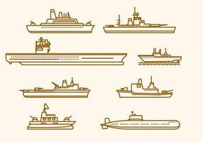 Vectores de barcos marinos planos