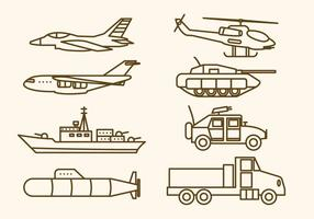 Vectores planos de armas militares