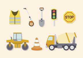 Platte wegenbouwvectoren