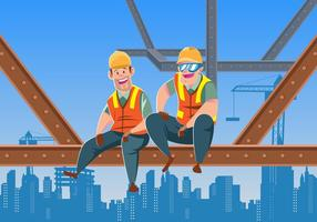 Sitting On Girder In Construction Site Vector
