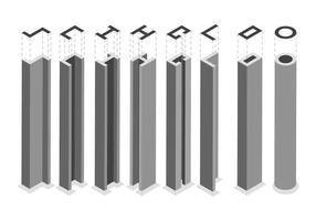Vecteurs de faisceau de construction de poutre unique gratuits