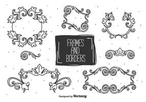 Desenho desenhado à mão e vetor de fronteiras