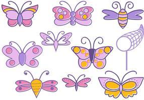 Vecteurs gratuits de papillons de griffonnage