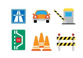 Flat Toll Icon Set