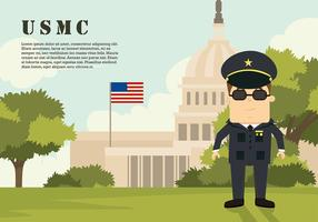 USMC Cartoon Character At Capitol Vector