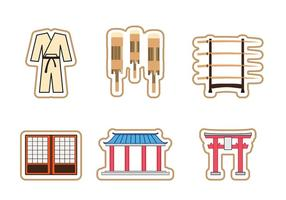 Dojo indoor temple icon set