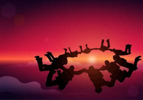 Skydiving Silhouette Round Formation Free Vector