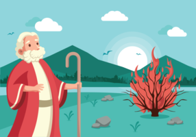 Moses und Burning Bush Vektor-Illustration