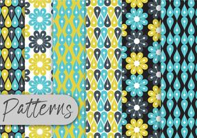 Blue Floral Geometric Pattern Set