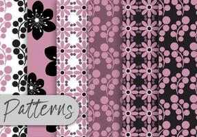 Purple  Black Floral Pattern Set