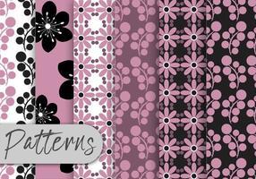 Conjunto de padrões florais pretos roxos