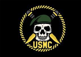 Vector de Mascota del cráneo del USMC