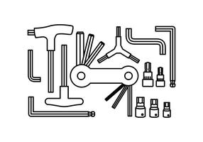 Free Allen Key Collection Line Icon Vector