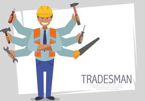 Multitasking Tradesman Vector Sjablonen