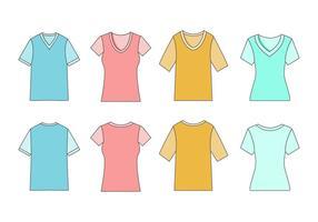 Free Männer und Frauen V-Ausschnitt Shirt Vektor