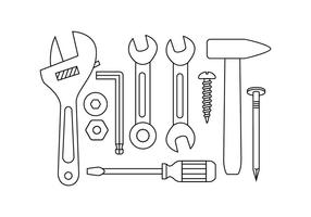 Free Tools Hardware Line Icon Vector