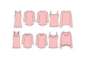 Vettore libero del modello della camicia del collo a V delle donne