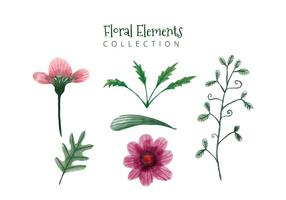 Cute Watercolor Pink Flowers And Green Leaves Collection vector