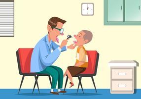 Kinderarzt, der einen gesunden Kid-Vektor überprüft