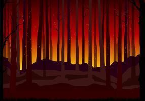 Brinnande skog bakgrund fri vektor