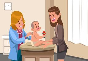 Rutinbesök till barnläkarevektor