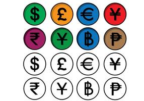 Valuta financier pictogram set