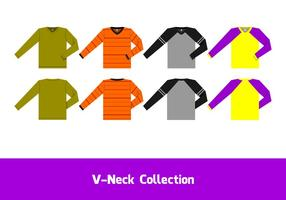 Vettore libero della manica lunga del collo a V
