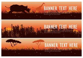 Brandende bush web banner pack vector