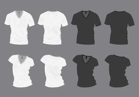 Camiseta en blanco y negro del V-cuello Mock-Up