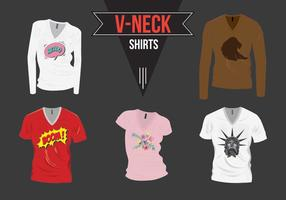 V-Neck Shirt with Design Pack Vector