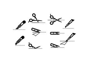Free Scissors Icon mit Cutting Lines Vektor