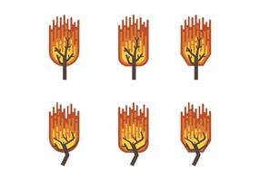 Burning Bush Flat Vector Collection