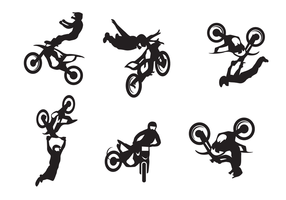 Motocross Freestyle Silhouette Vector