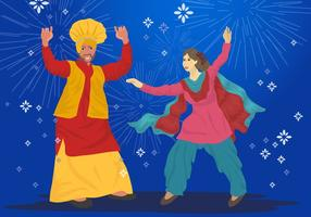 Bhangra bailarines de vectores
