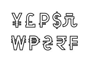 Gratis Valuta Symbol Linje Ikon Vector