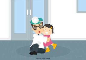 Pediatrican Man Holds A Little Girl Vector