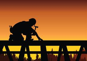 Tradesman Arbete På Tak Gratis Vektor