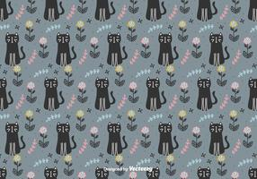 Cats And Flowers Vector Pattern