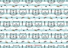 Dibujado a mano patrón de vector gatos