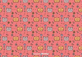 Cats And Flowers Pattern vector