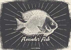 Vintage stil flounder illustration