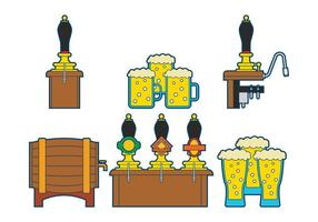 Beer pump vector set