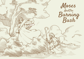 Moses and Burning Bush Vector Illustration