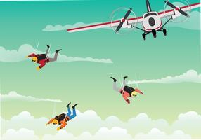 Free Skydiver Team Jumps From An Airplane Illustration