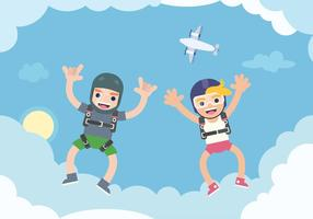 Couple Skydiving Illustration