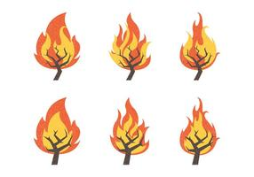 Coleção Burning Bush Vector Illustration