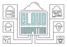 Linear Cloud Computing Illustration vector