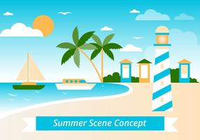 Gratis sommarlandskap vektor bakgrund