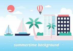 Fond coloré gratuit de vecteur de plage d'été